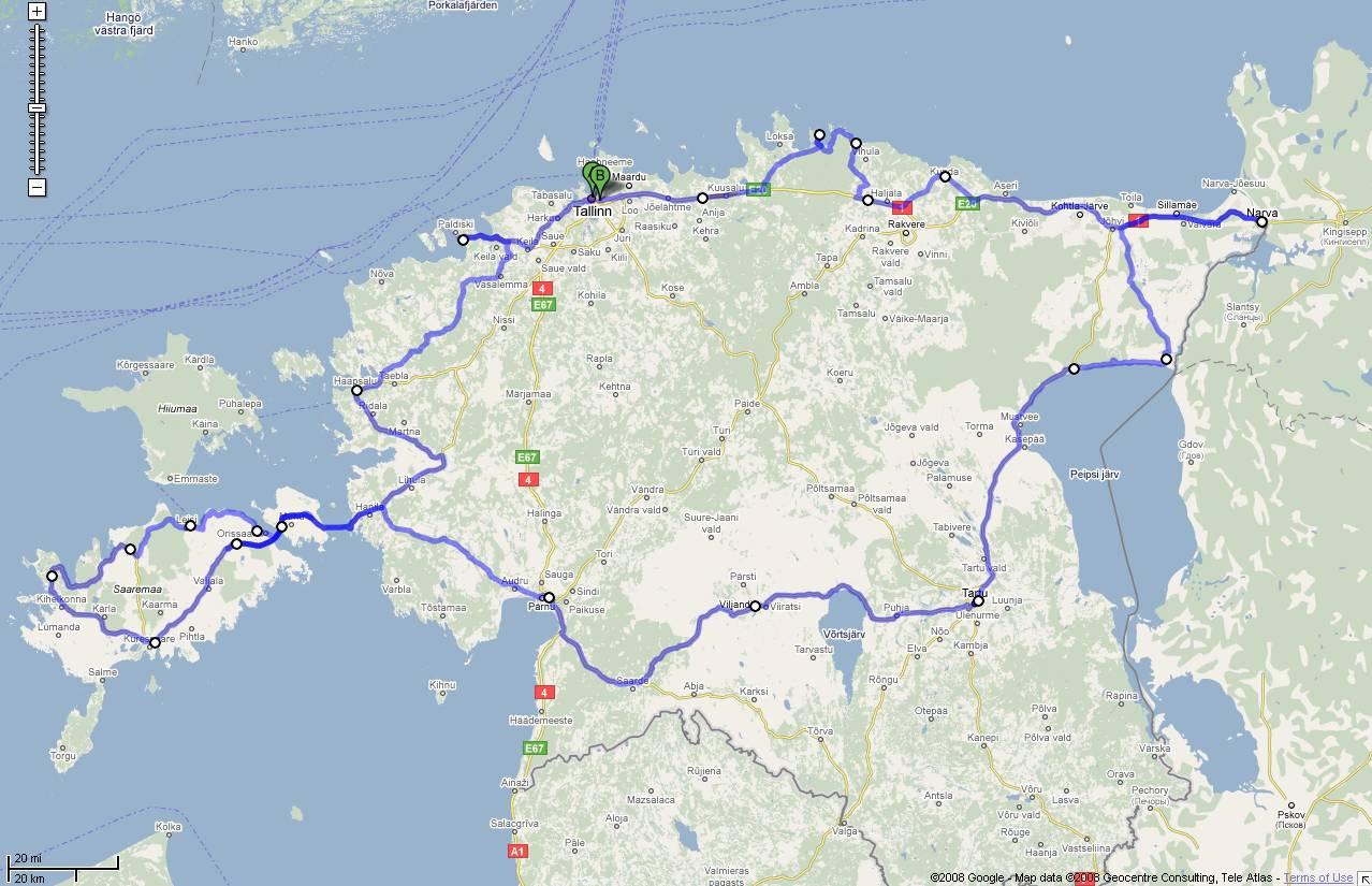 Estonsko Mapa Cesty